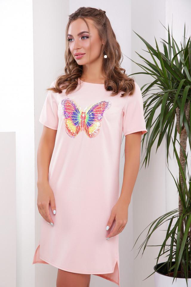 Современное платье туника короткое прямого кроя рукав короткий разрезы бабочка персиковое