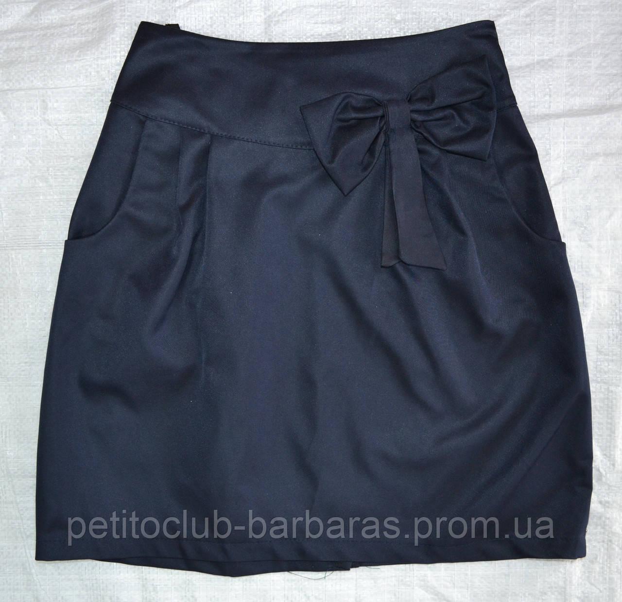 Детская юбка классика с бантом темно-синяя р. 128-158 см (Mariatex, Польша)