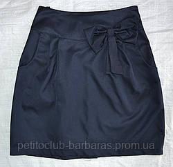 Детская юбка классика с бантом темно-синяя (Польша)