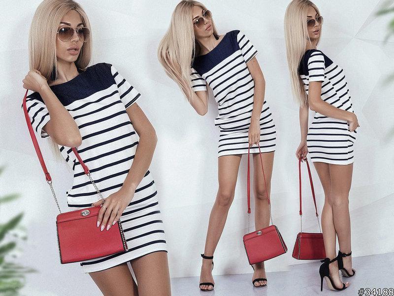 """Літній коротке плаття тільник в смужку """"Sunny"""" з короткими рукавами і кишенями"""
