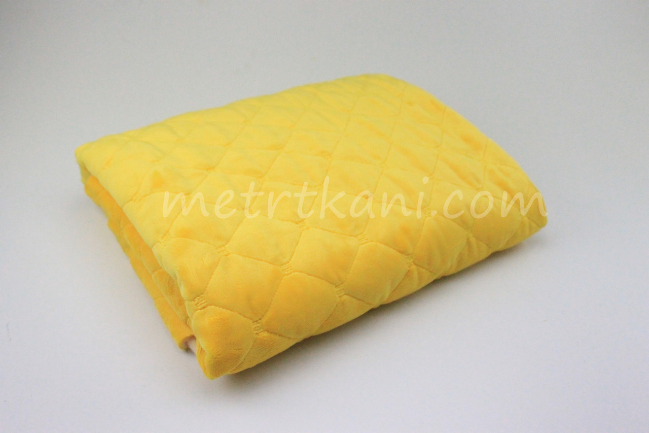Плюш для пледа стеганый с синтапоновой подкладкой  100*80см желтого цвета 380г/м №-СП-1