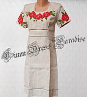 Жіноча сукня з тоненькою мережкою оздоблена вишитими трояндами (розмір  46UA RU). Модель c440f453e2280