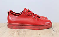 Женские кожаные кеды на шнурках, материал - натуральная кожа, цвет - красный
