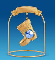 Фігурка з кристалами Сваровські та позолотою Різдвяний чобіток
