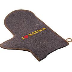 Рукавичка для бани и сауны с вышивкой (серый войлок), Saunapro