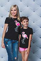 Футболка для девочки с нашивкой Фламинго черная