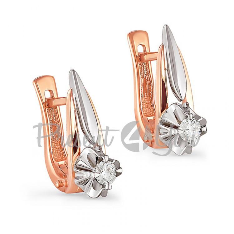 Золотые серьги с бриллиантами - 5,07 г