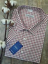 Сорочка з коротким рукавом в бордово-білу клітку