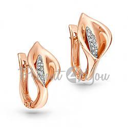 Золотые серьги с бриллиантами - 5,0 г