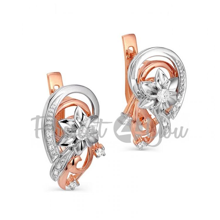 Золотые серьги с бриллиантами - 6,31 г