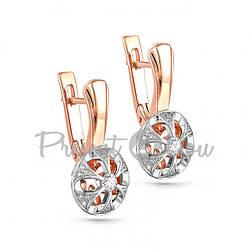 Золотые серьги с бриллиантами - 4,46 г