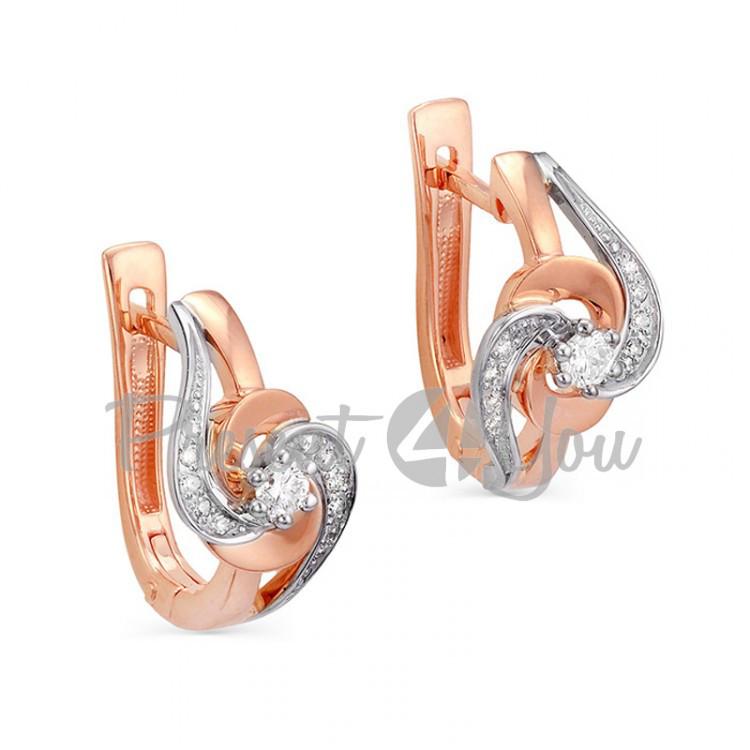 Золотые серьги с бриллиантами - 5,06 г