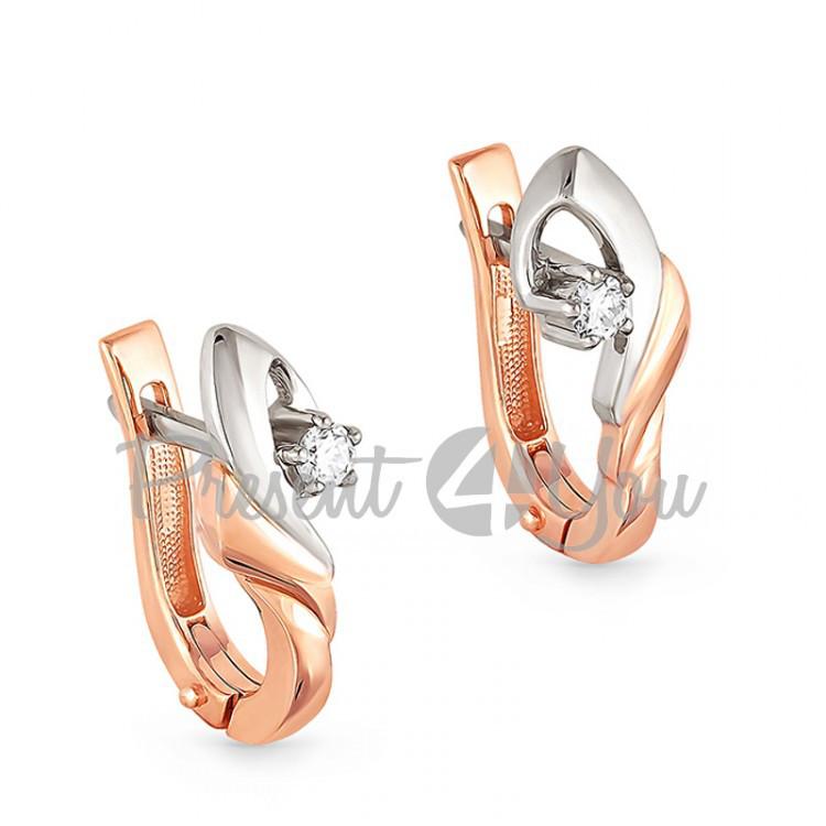 Золотые серьги с бриллиантами - 3,93 г