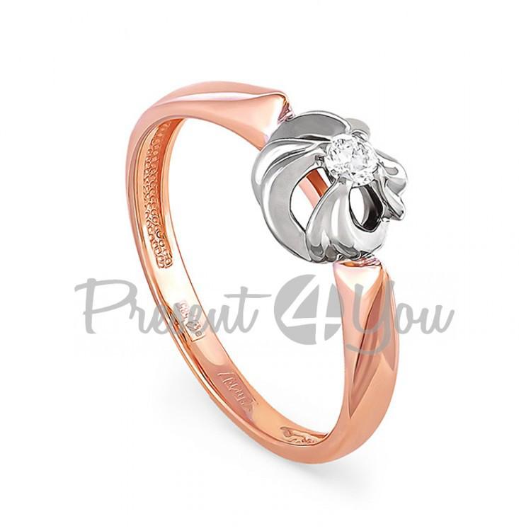 Золотое кольцо с бриллиантом - 1,91 г (11-0789)
