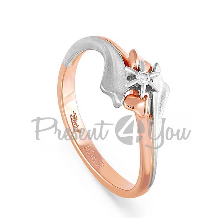Золотое кольцо с бриллиантом - 2,14 г (11-0238)