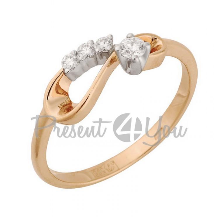 Золотое кольцо с бриллиантом - 2,25 г (11-0095)