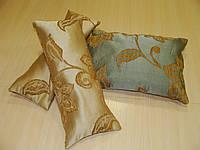 Комплект подушек  Зеленые и Песочные завитки,3шт, фото 1