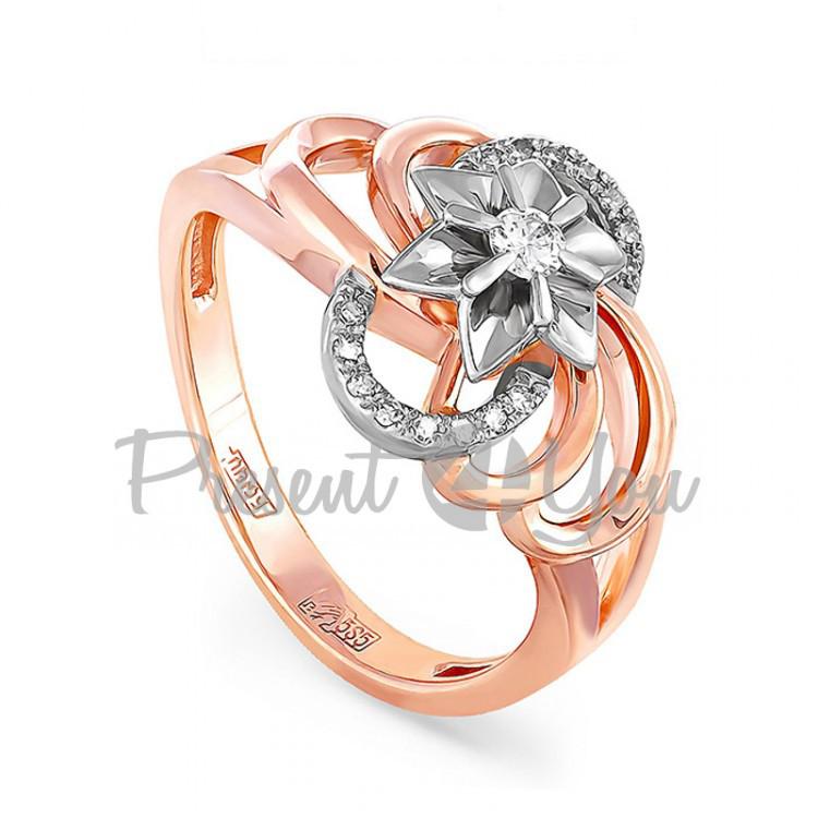 Золотое кольцо с бриллиантом - 4,59 г (11-0314)