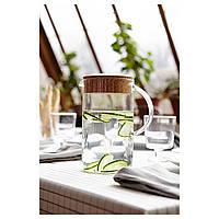 Кувшин с крышкой, прозрачное стекло, Кора пробкового дерева, 1.5 л Икеа Икеа/365+, 50279721 Ikea