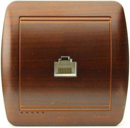 Lezard Demet Розетка Телефонная Евро Античный Кедр, фото 2