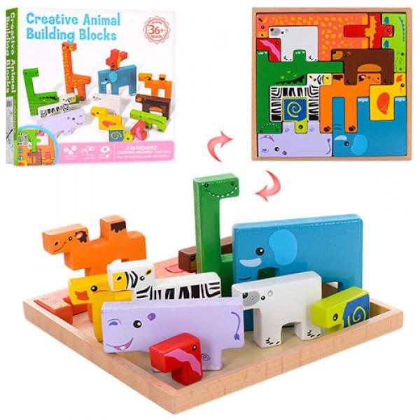 Розвиваюча дерев'яна іграшка Тетріс - тварини