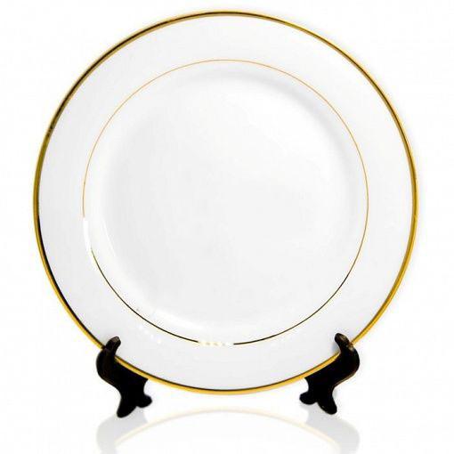 Тарелка для сублимации белая 27 см (золотой ободок)