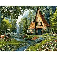 Картина раскраска по номерам на холсте 40*50см Babylon VP918 Дом на опушке леса
