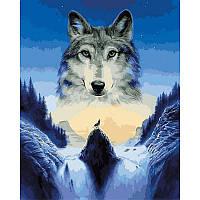 Картина раскраска по номерам на холсте 40*50см Babylon VP929 Лунный волк