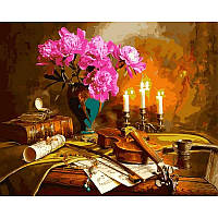 Картина раскраска по номерам на холсте 40*50см Babylon VP942 Натюрморт со скрипкой и пионами