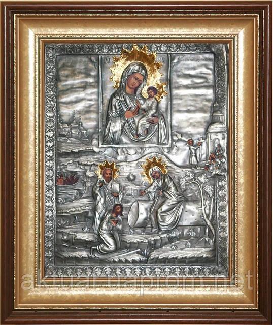 Тихвинская икона с изображением явления  Пресвятой Богородицы пономарю Георгию