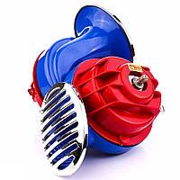 Сигнал звуковой 12V Улитка 2 контакта  100 730 Elegant красно-синий хром