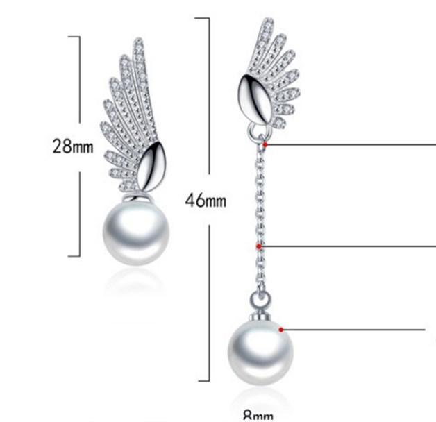 Серебряные серьги Крылья Ангела с жемчугом