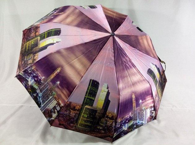 Женские атласные зонты с городами на 10 спиц антиветер