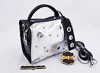 46874afe835b ЛИКВИДАЦИЯ Женская сумка 21*13*16 см двухцветная серебро черная