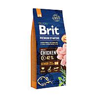 Сухой корм для пожилых собак средних пород, Brit Premium Dog Senior S+M, 15 кг