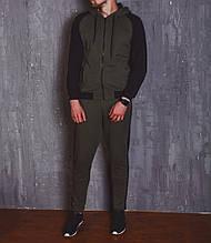 Мужской спортивный костюм хаки с капюшоном