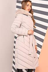 Длинное зимнее пальто с мехом мутона  Фелиция 2 Нью Вери (Nui Very) крем