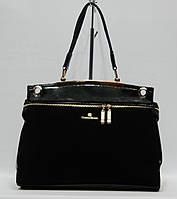Женская сумка Cotton Rose модель 50782 черная натуральная замша , фото 1
