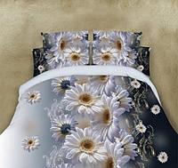 Полуторное постельное белье Gold ромашки на сером