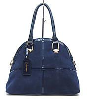 Женская сумка модель E3456 синяя натуральная замша, фото 1