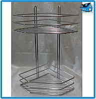 Полка хромированная сталь 2-ярусная угловая 38*19,5*19,5см хромированная