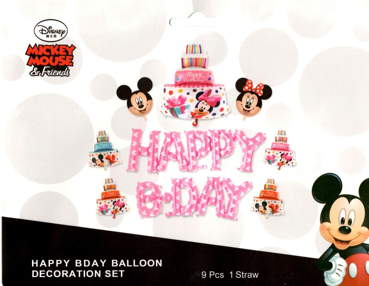 набор шаров Happy Bday в стиле минни маус