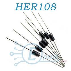 HER108, диод ультрабыстрый, 1А 1000В, DO41