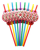 """Коктейльные трубочки """"L.O.L розовый"""". Размер: 250мм. Диаметр: 5мм. В упак: 10 шт."""