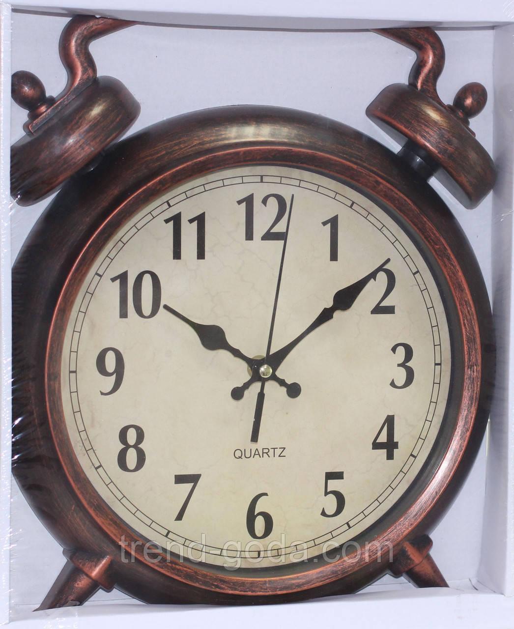 Часы настенные в форме будильника, коричневые