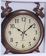 Часы настенные в форме будильника, коричневые, фото 1