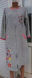 Велюровый женский халат на молнии большого размера цветочный принт  48-62 р