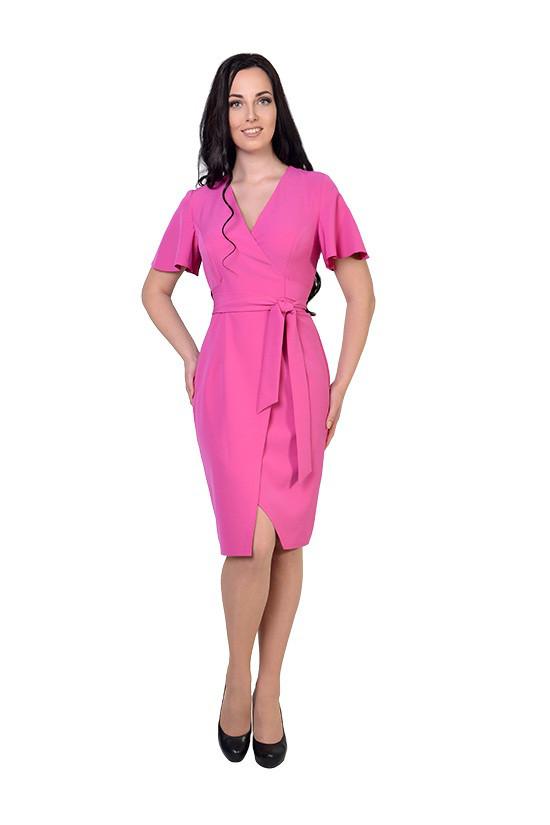 Жіночна сукня довжини міді у красивих рожевих тонах
