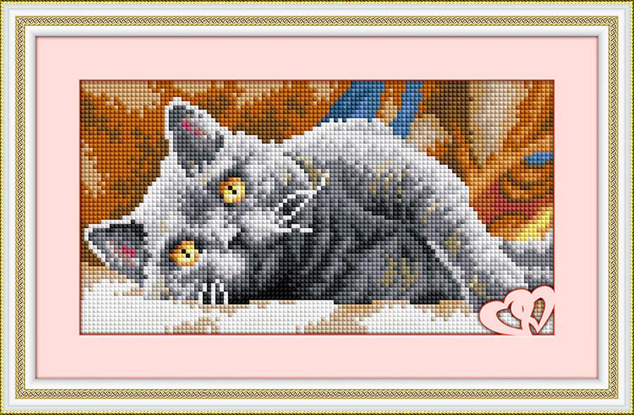 "Алмазная живопись набор R29,5х14,5см ""Дымчатый кот"""