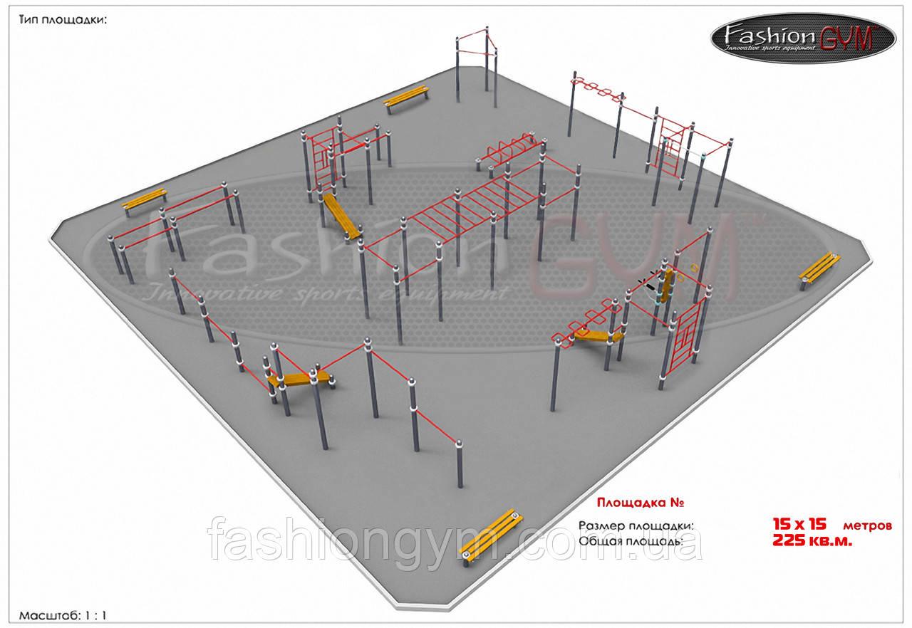 Уличная спортивная площадка Workout 15х15м GK-100
